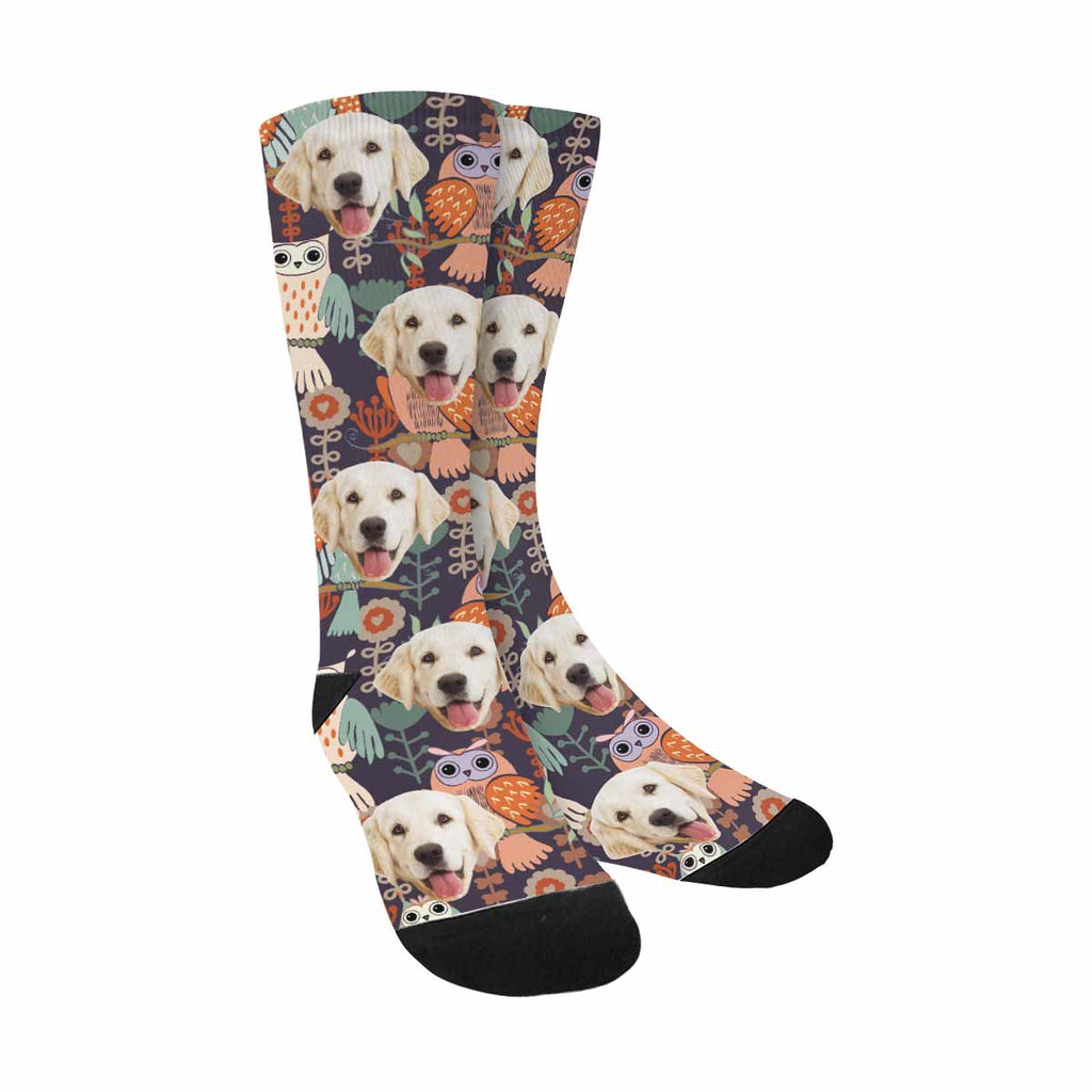 Custom Printed Picture Owl Dog Socks