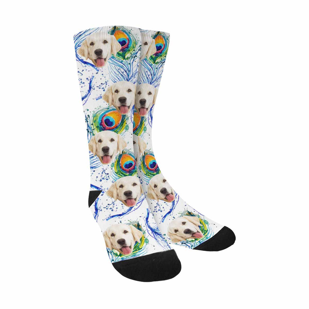 Personalized Picture Peacock Plumage Pet Socks