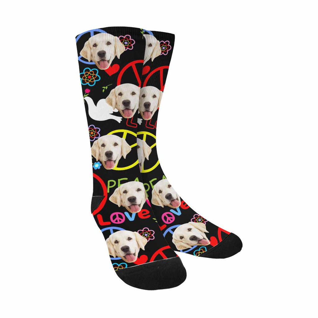 Custom Printed Photo Doves and Peace Sign Pup Socks, Hippie