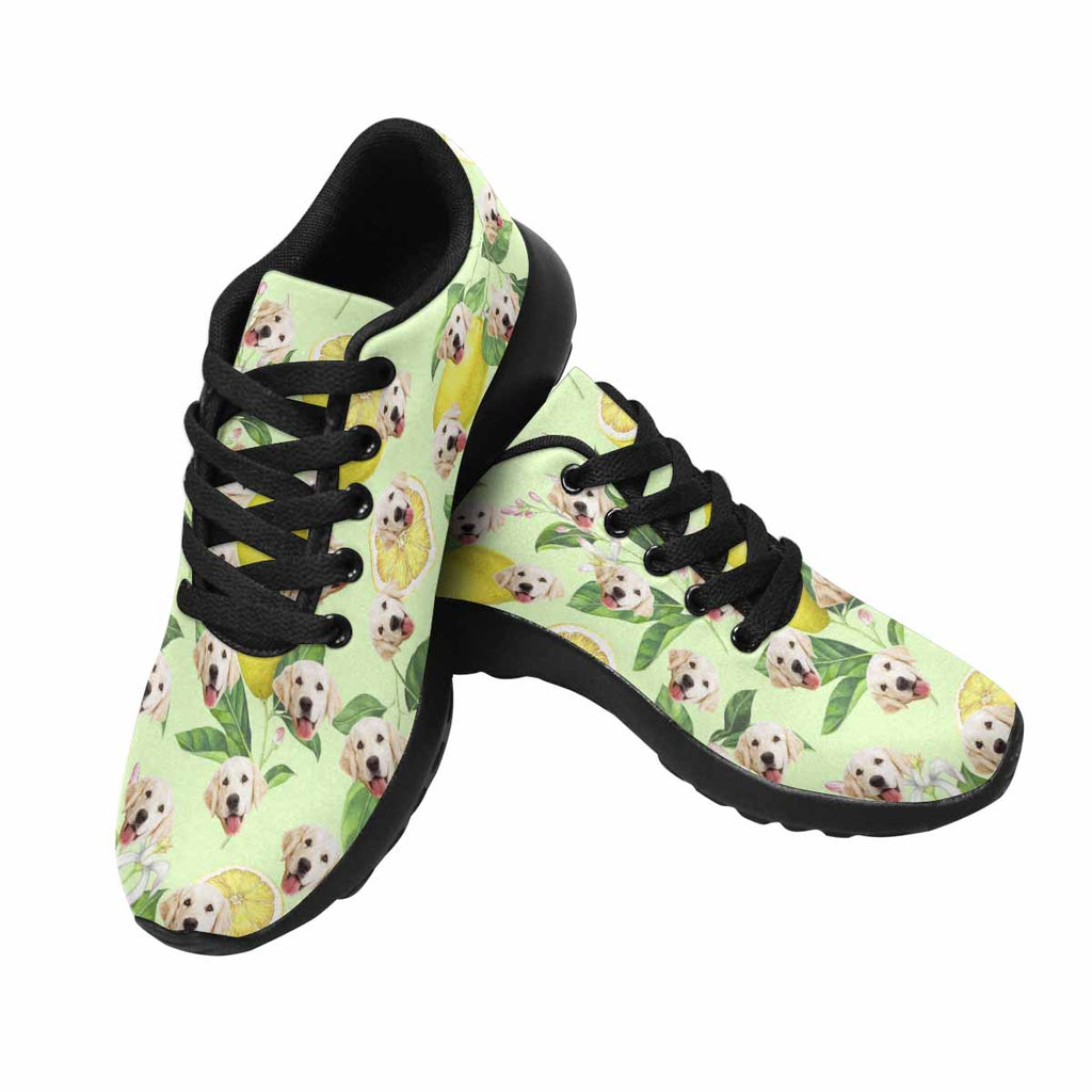 Custom Printed Lemon Pup Women's Running Shoes Green Background