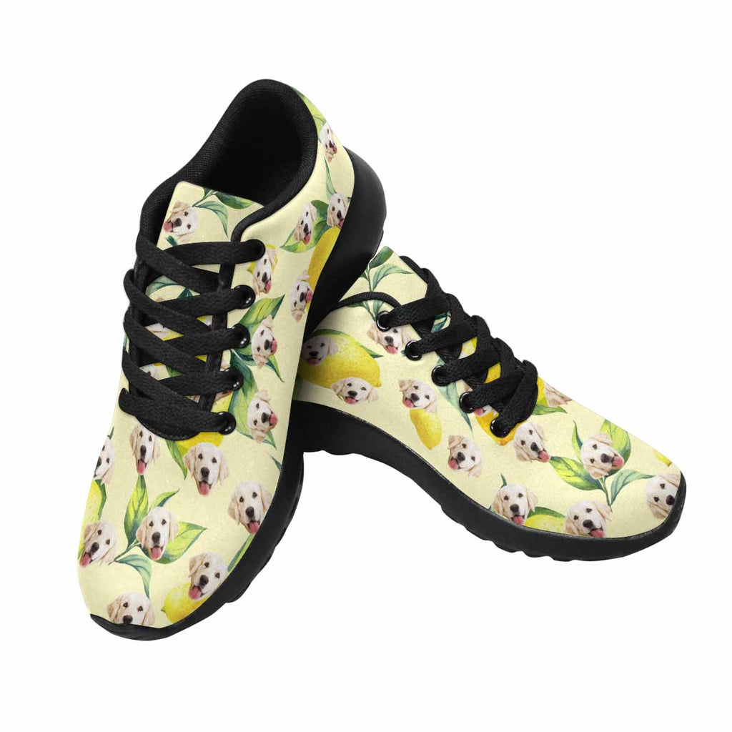 Personalized Printed Lemon Pup Women's Running Shoes Yellow Background