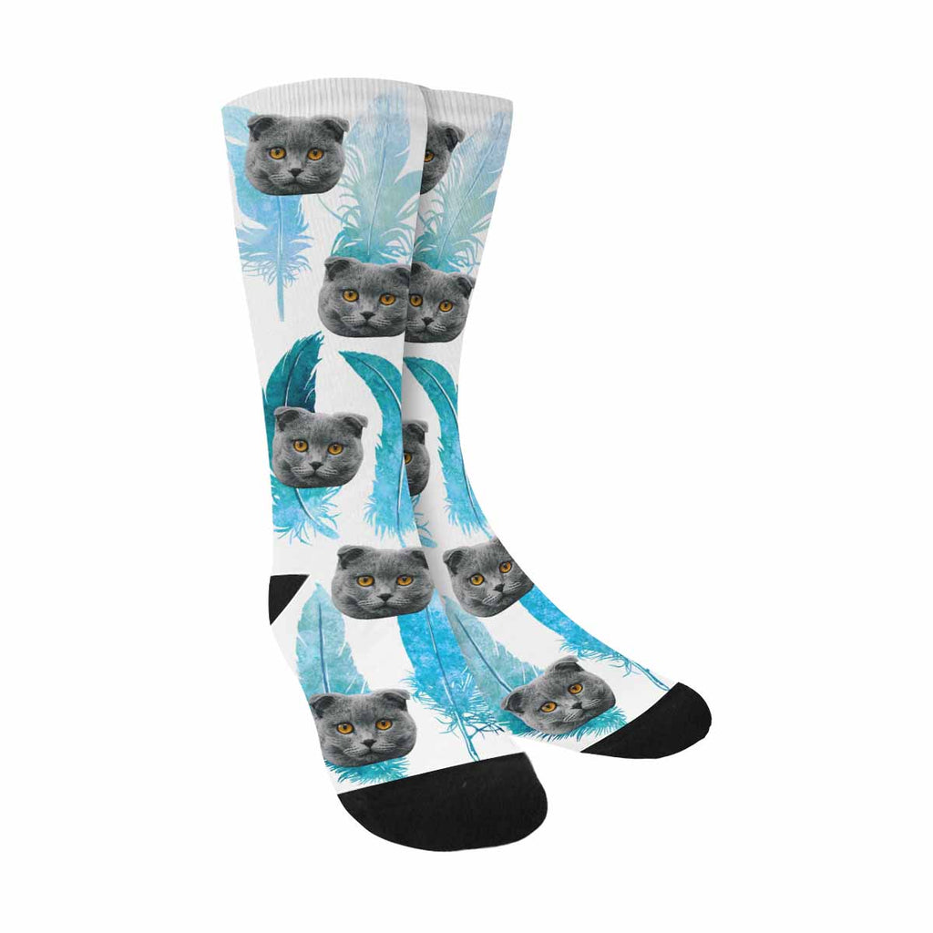 Personalized Picture Blue Feather Pet Socks