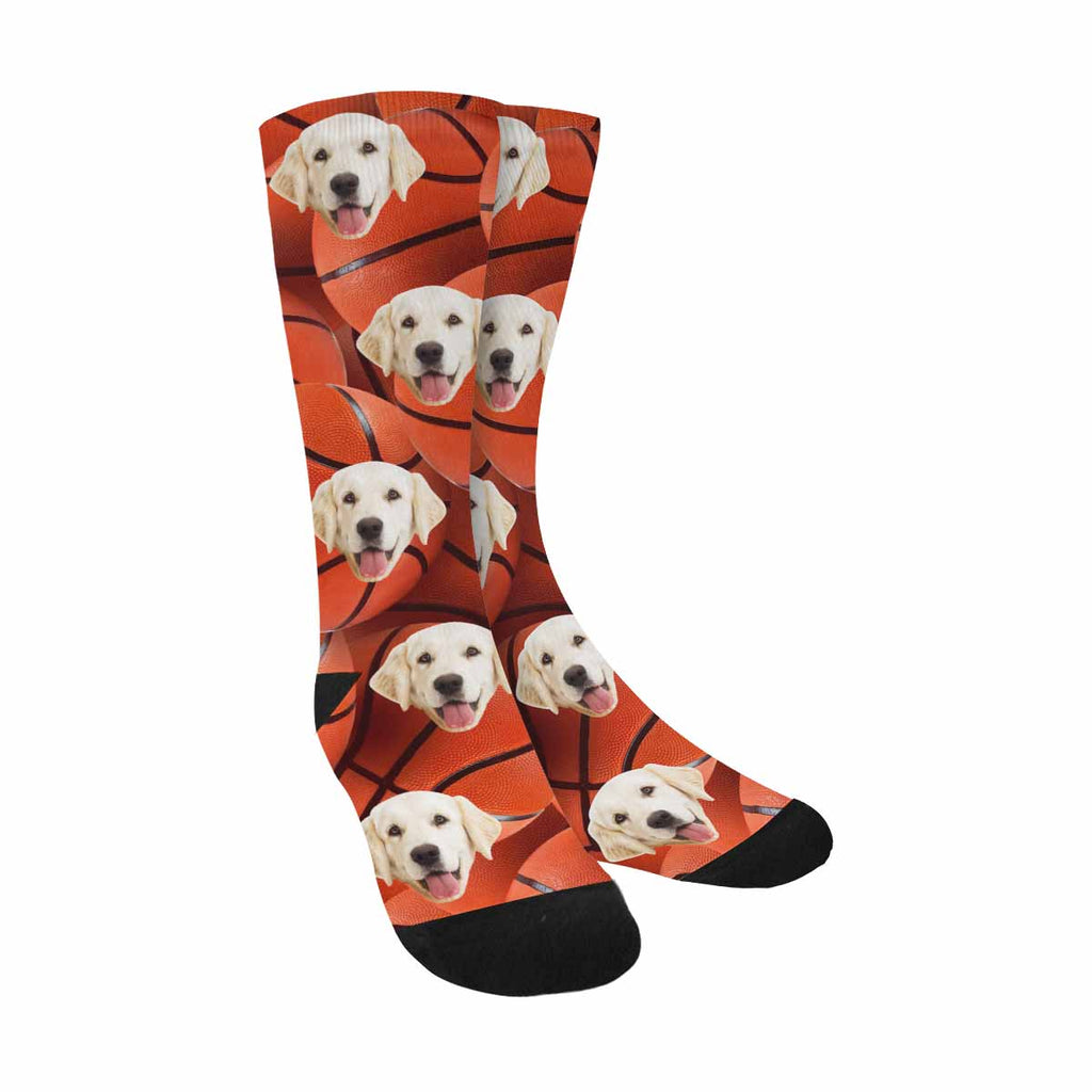 Personalized Picture Basketball Pup Socks