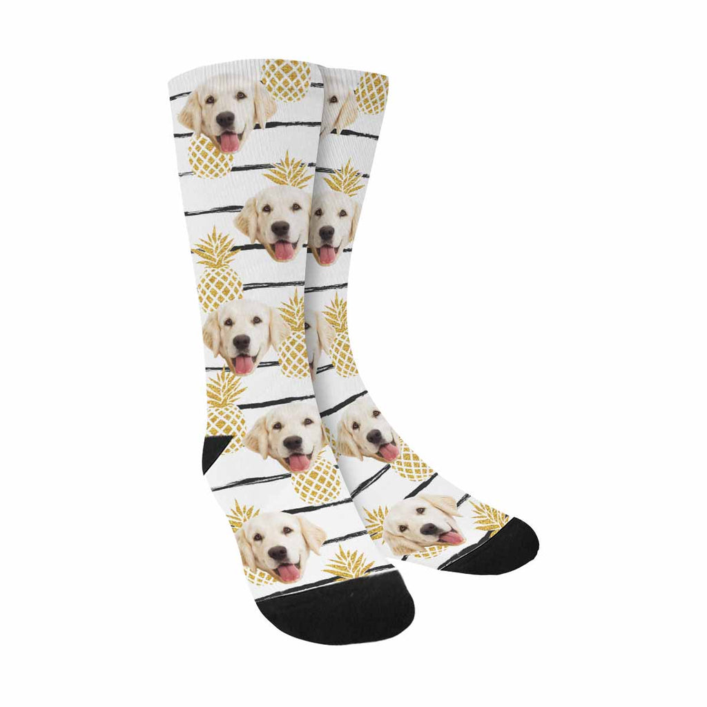 Personalized Picture Gold Pineapples Pup Socks, Striped