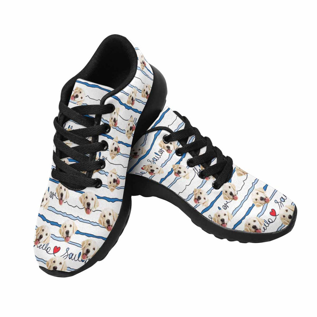 Custom Printed Nautical Stripes Pup Women's Running Shoes