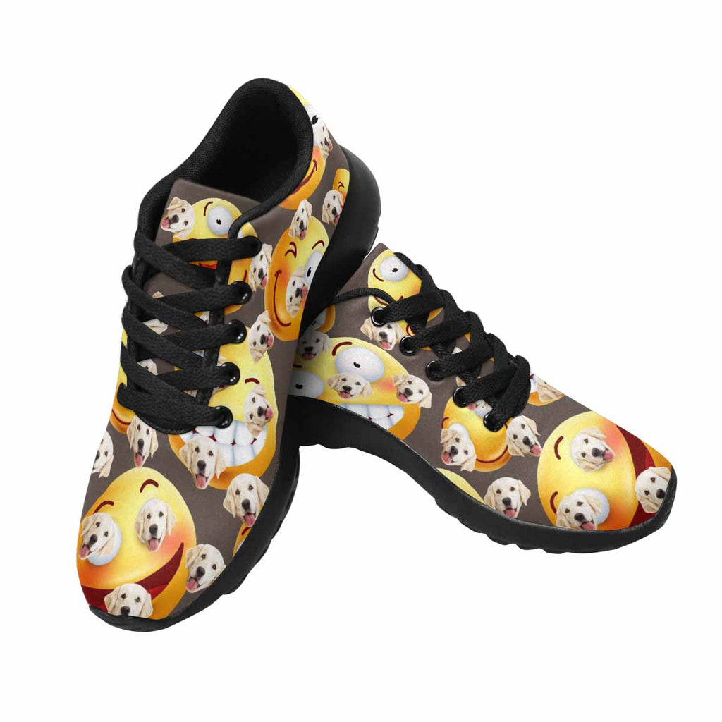 Personalized Printed Smiley Emoji Women's Pup Sneakers