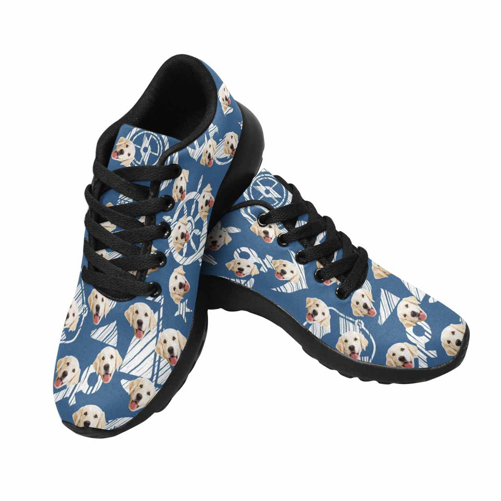 Custom Printed Picture Nautical Dog Women's Running Shoes