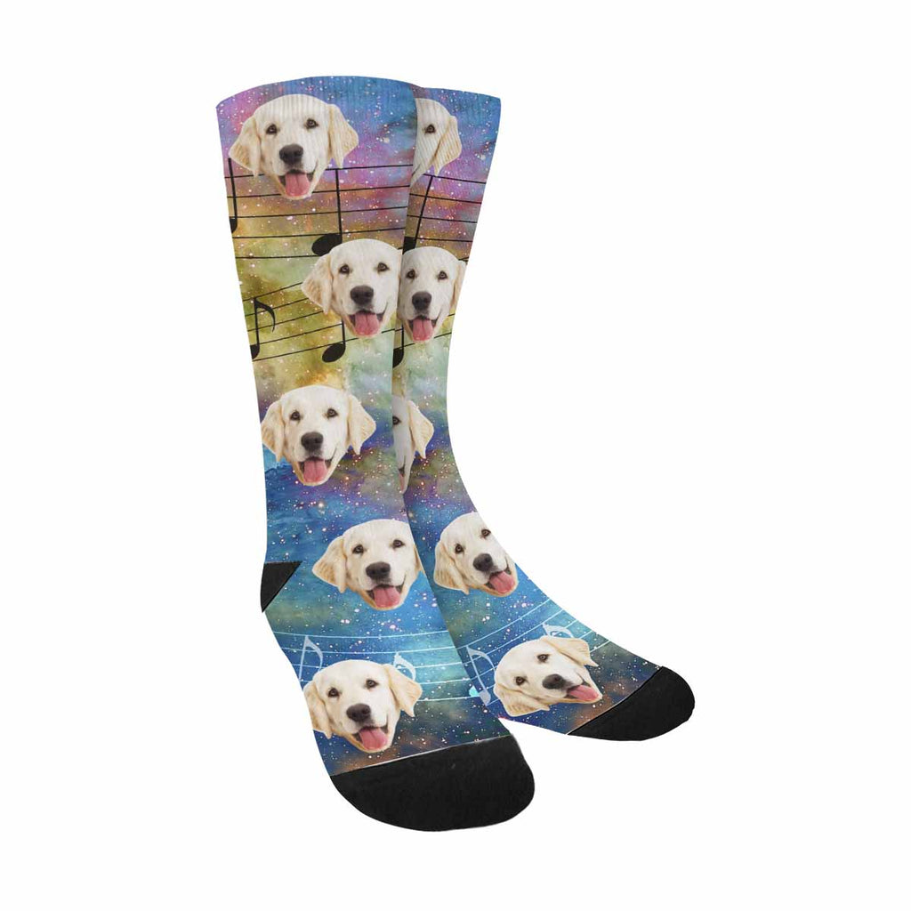 Custom Photo Space and Stars Pet Socks, Music Note