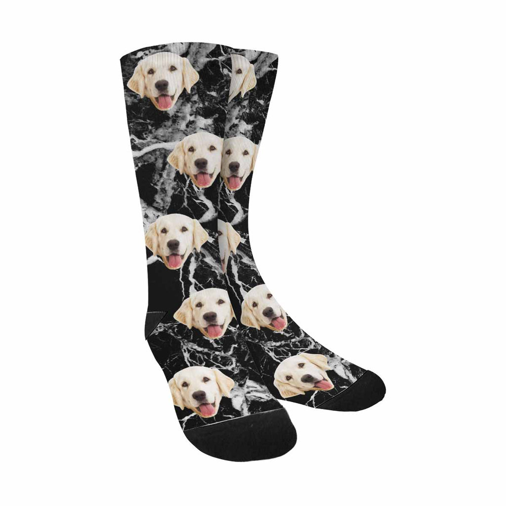 Custom Printed Photo Marble Pup Socks, Black And White