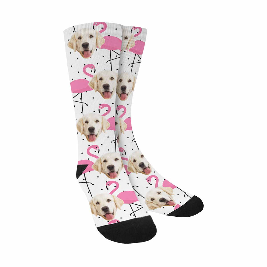 Custom Photo Flamingo Pup Socks, Polka Dots