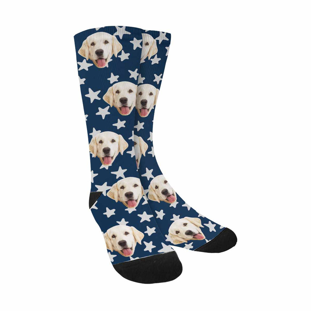 Personalized Picture Stars Dog Socks, Dark Blue Background