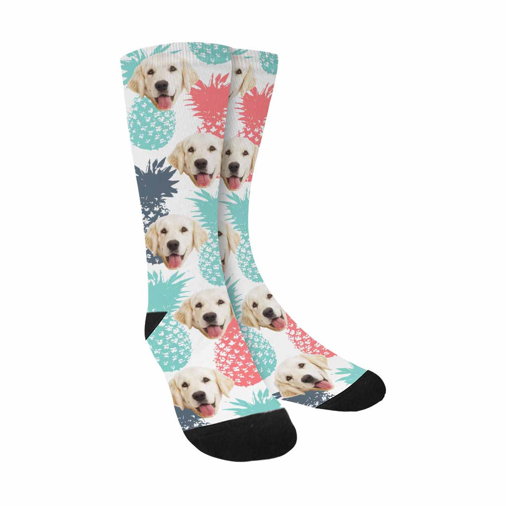 Custom Printed Picture Color Pineapples Pup Socks