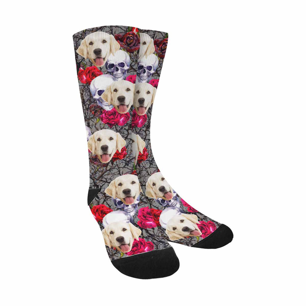 Custom Photo Skulls Pet Socks, Rose Flowers And Branches