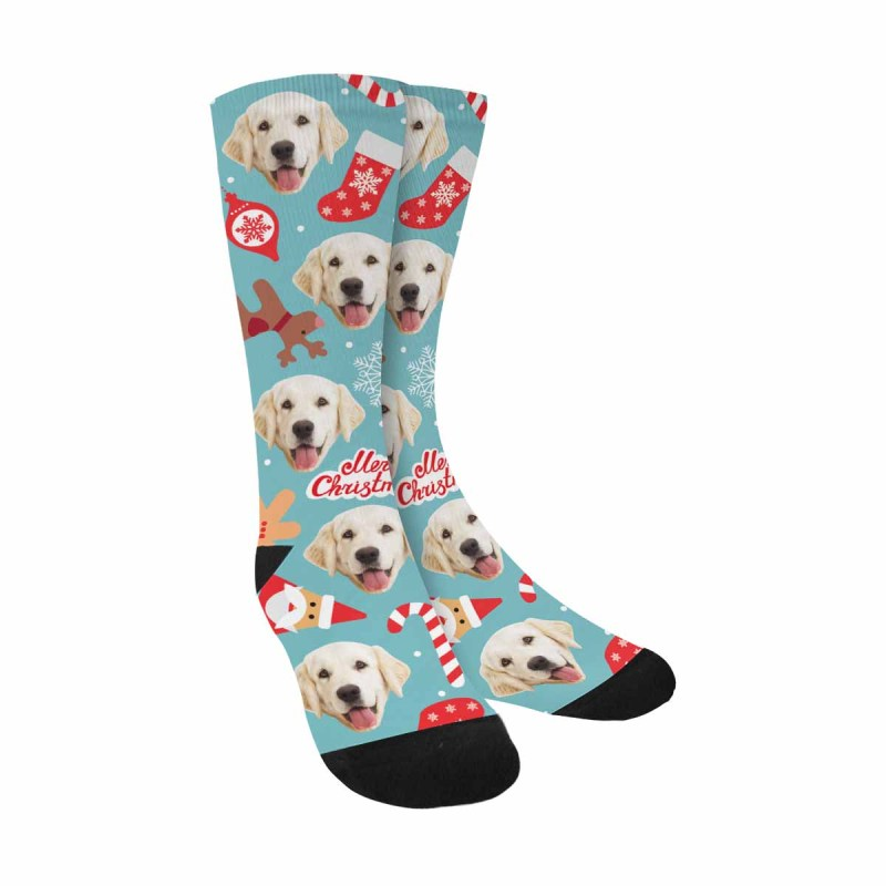 Personalized Photo Happy New Year and Christmas Day Pup Socks
