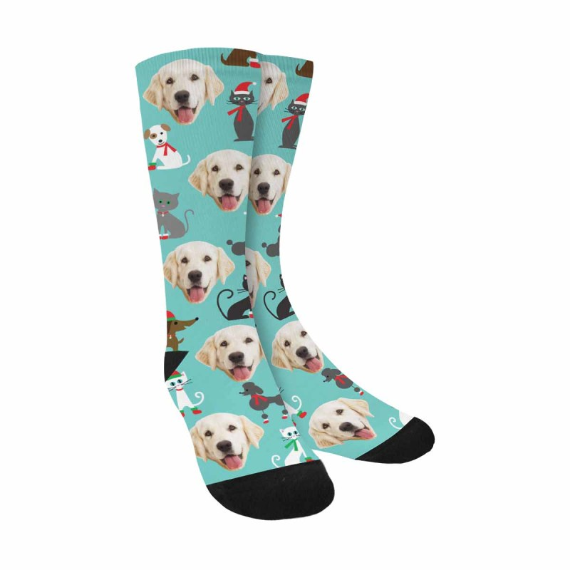 Personalized Picture Cats and Dogs Pup Socks, Christmas