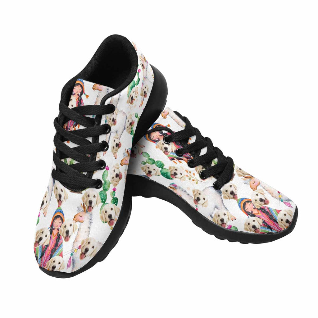Personalized Photo Indian Girl and Llama Dog Men's Running Shoes