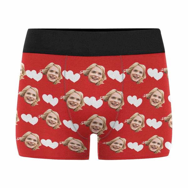 Custom Printed Face Hearts Men's Boxers Valentine's Day