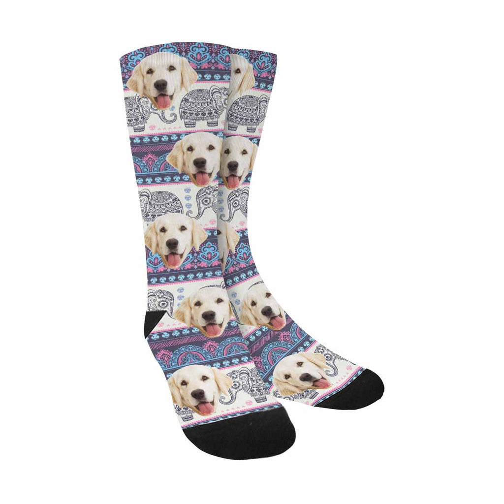 Personalized Picture Elephant Dog Socks, Boho Style