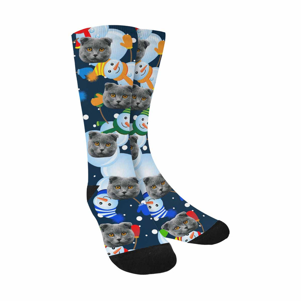 Custom Printed Snowman Cat Face Socks