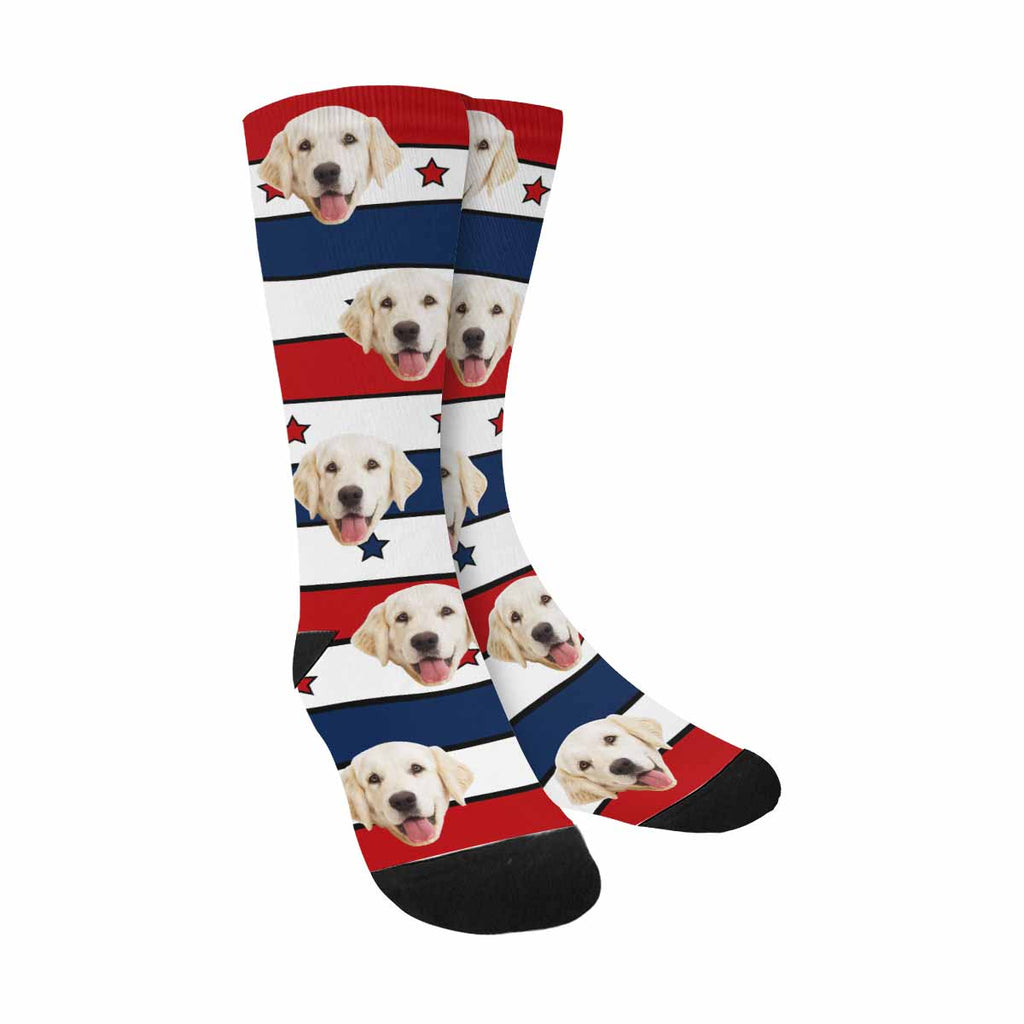 Custom Photo Lines And Stars Dog Socks, Red and Blue