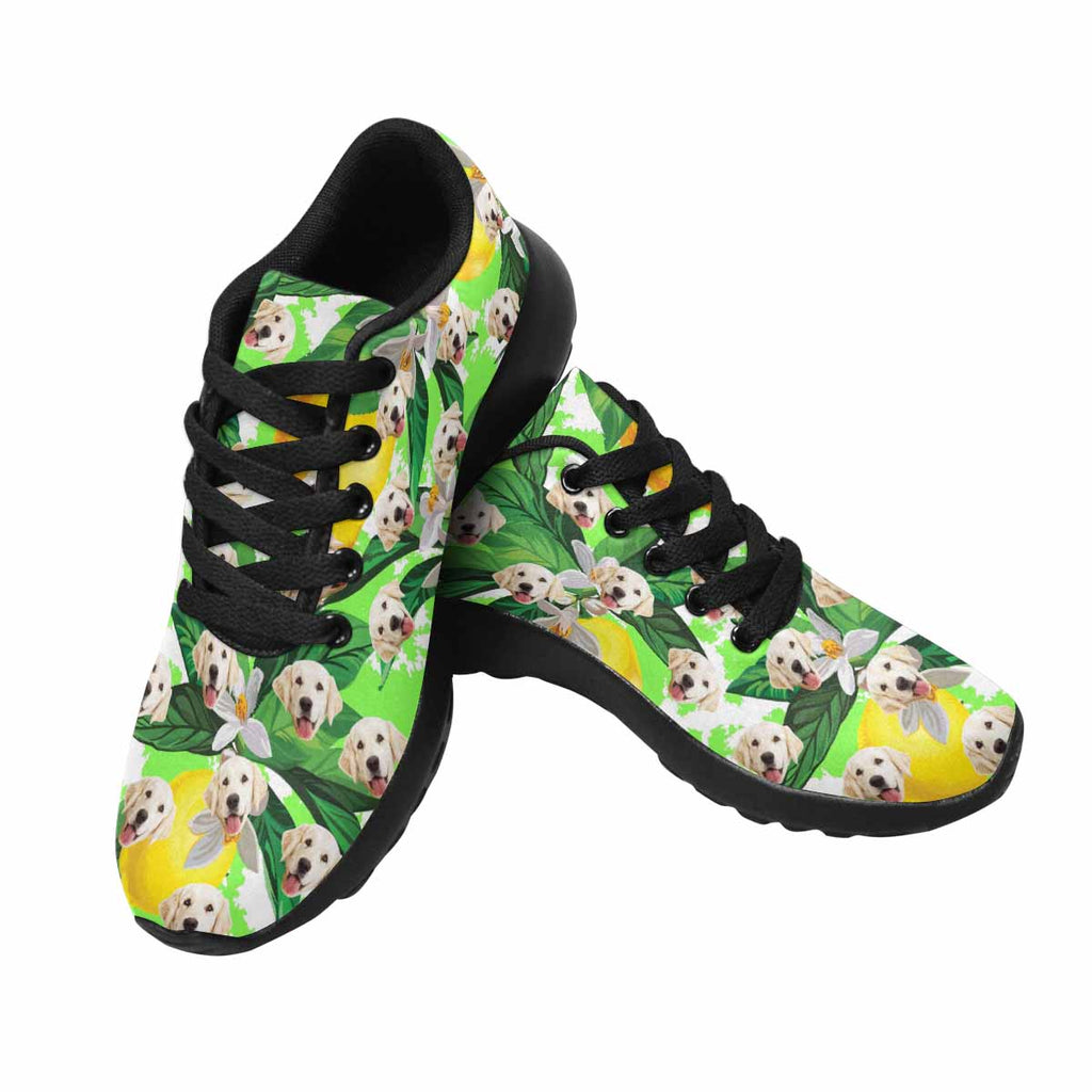 Custom Printed Photo Lemon Pup Women's Running Shoes Flower and Leave