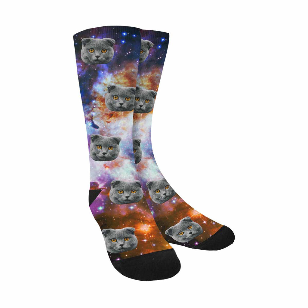 Custom Photo Colorful Galaxy Cat Socks Outer Space