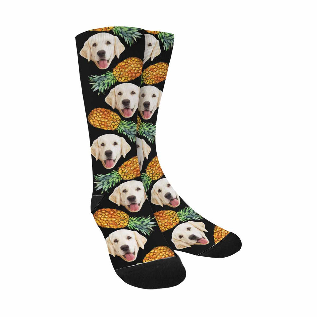 Personalized Picture Yellow Pineapples Pup Socks, Black Background