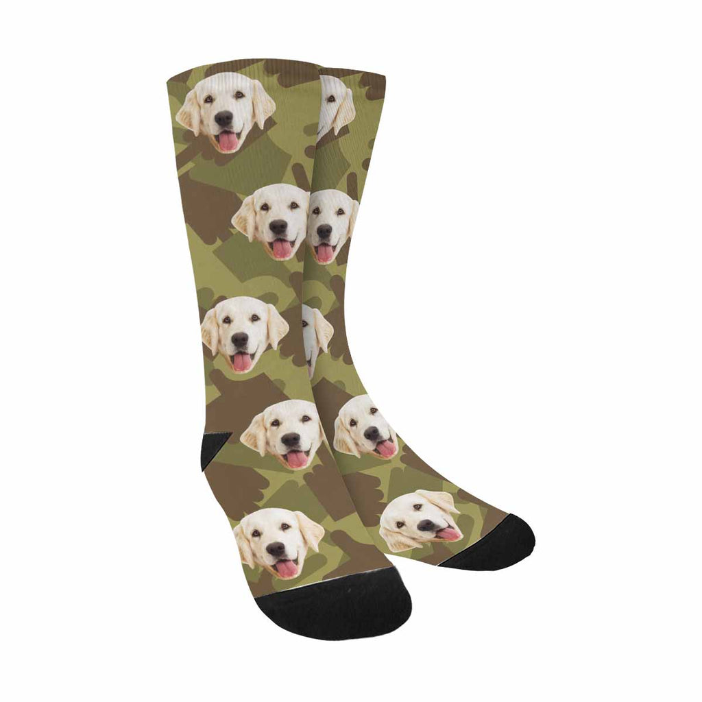 Personalized Picture Army Military Camouflage Pup Socks