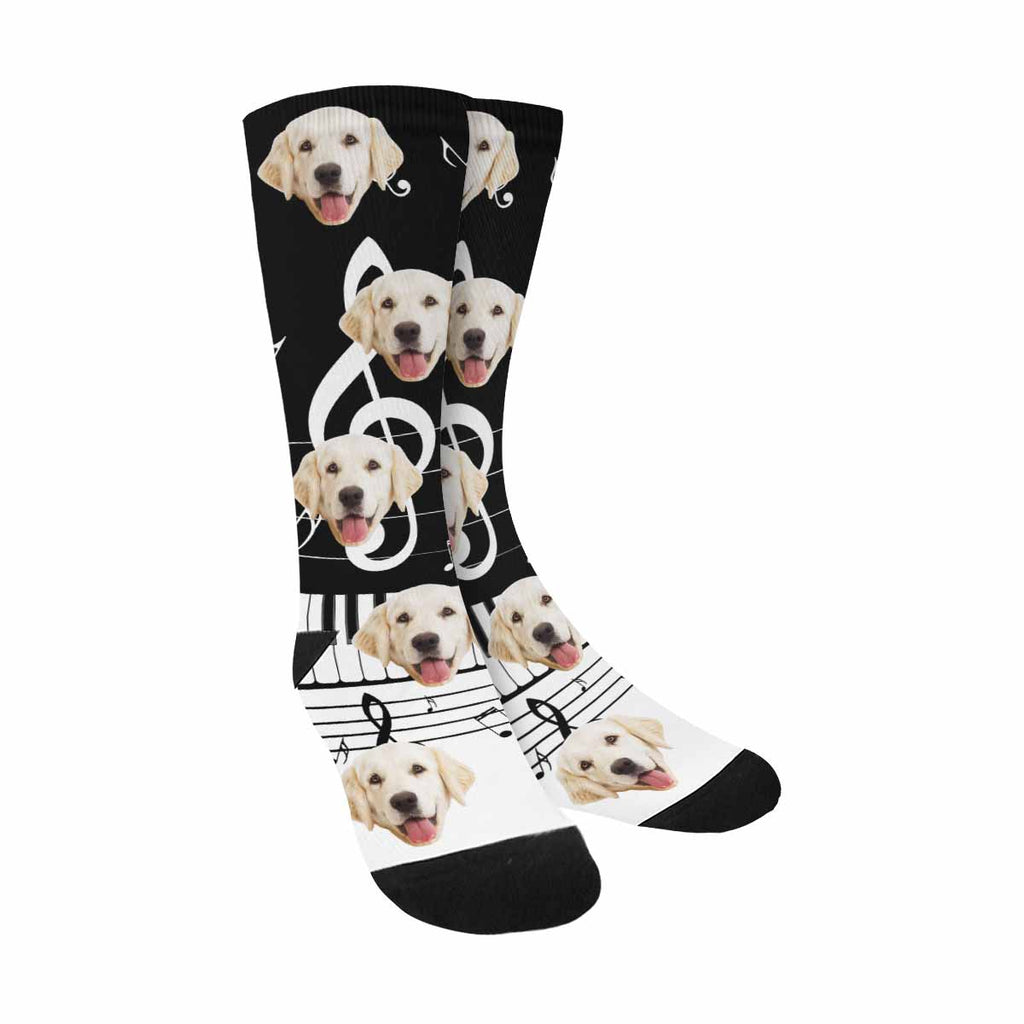 Custom Printed Musical Notes Photo Dog Socks, Piano Keys