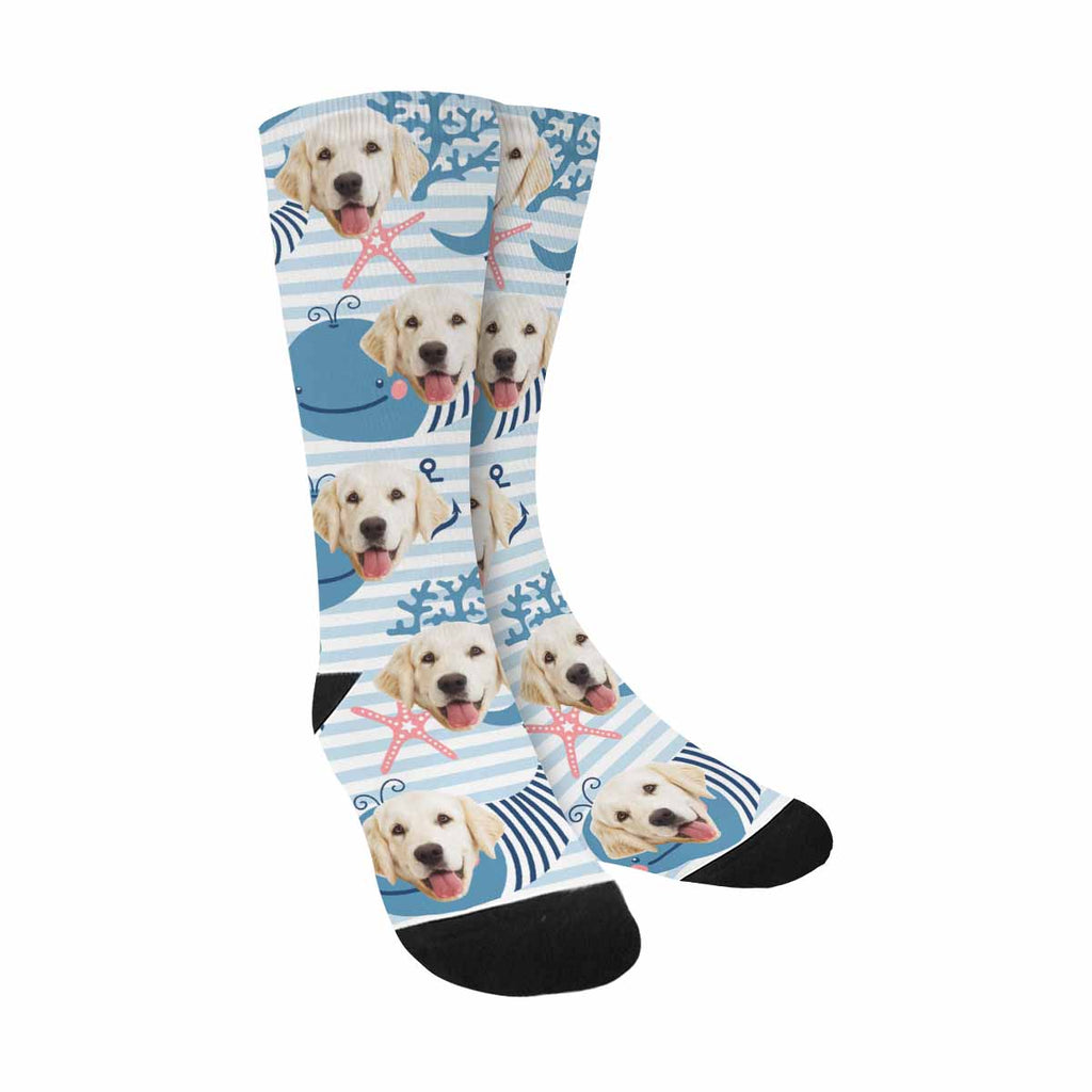 Custom Printed Picture Cute Whales Pup Socks
