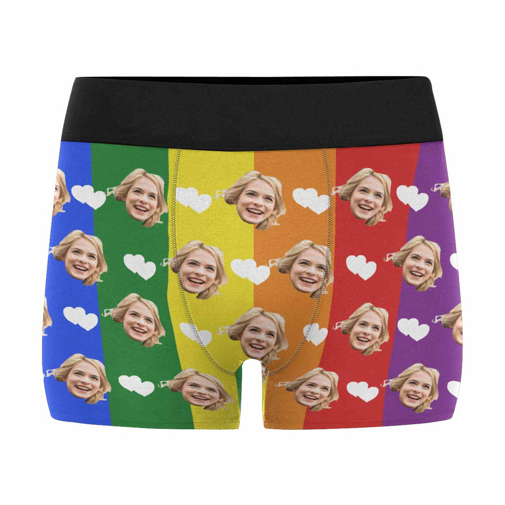 Personalized Face Hearts Men's Boxer Shorts Rainbow