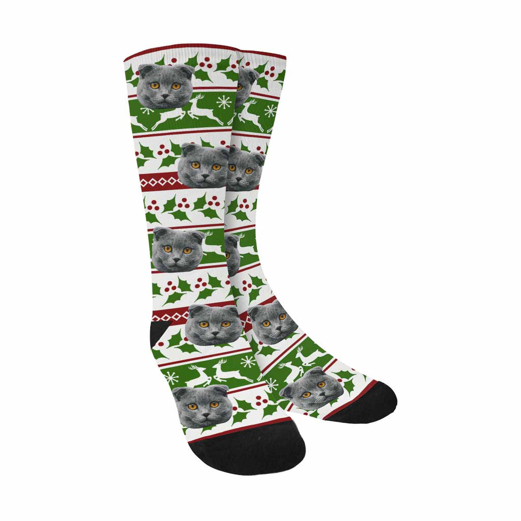 Custom Printed Photo Merry Christmas Pet Socks