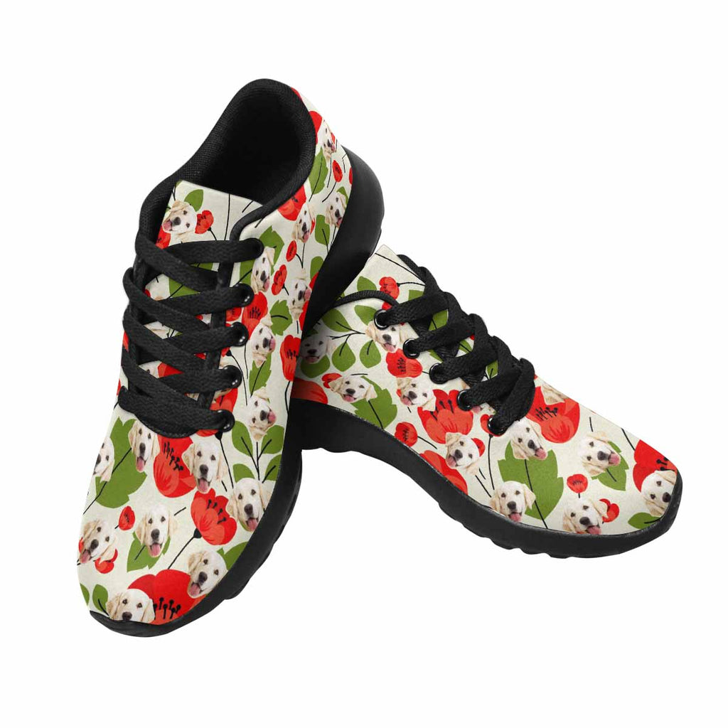 Custom Printed Red Poppies Women's Pup Sneakers