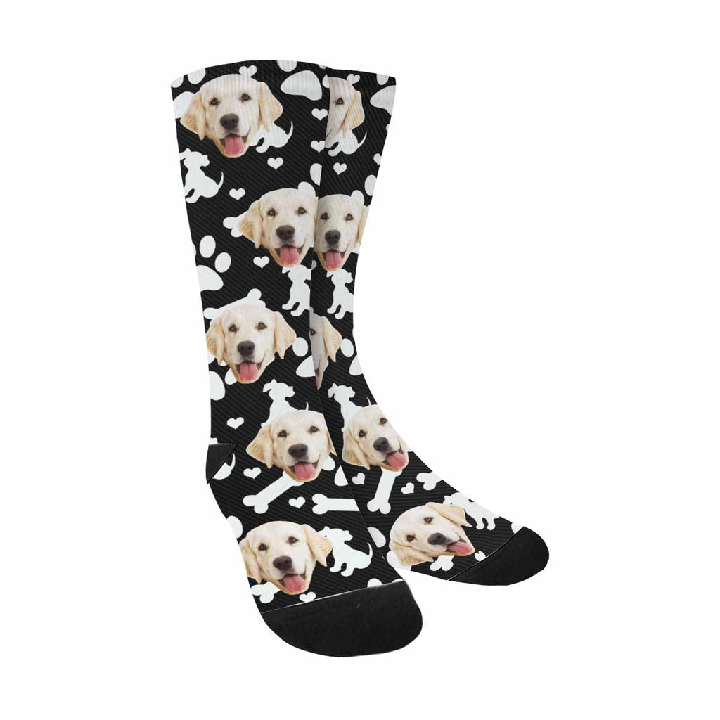 Personalized Picture Dog Paw Pet Socks, Puppy Bone and Hearts