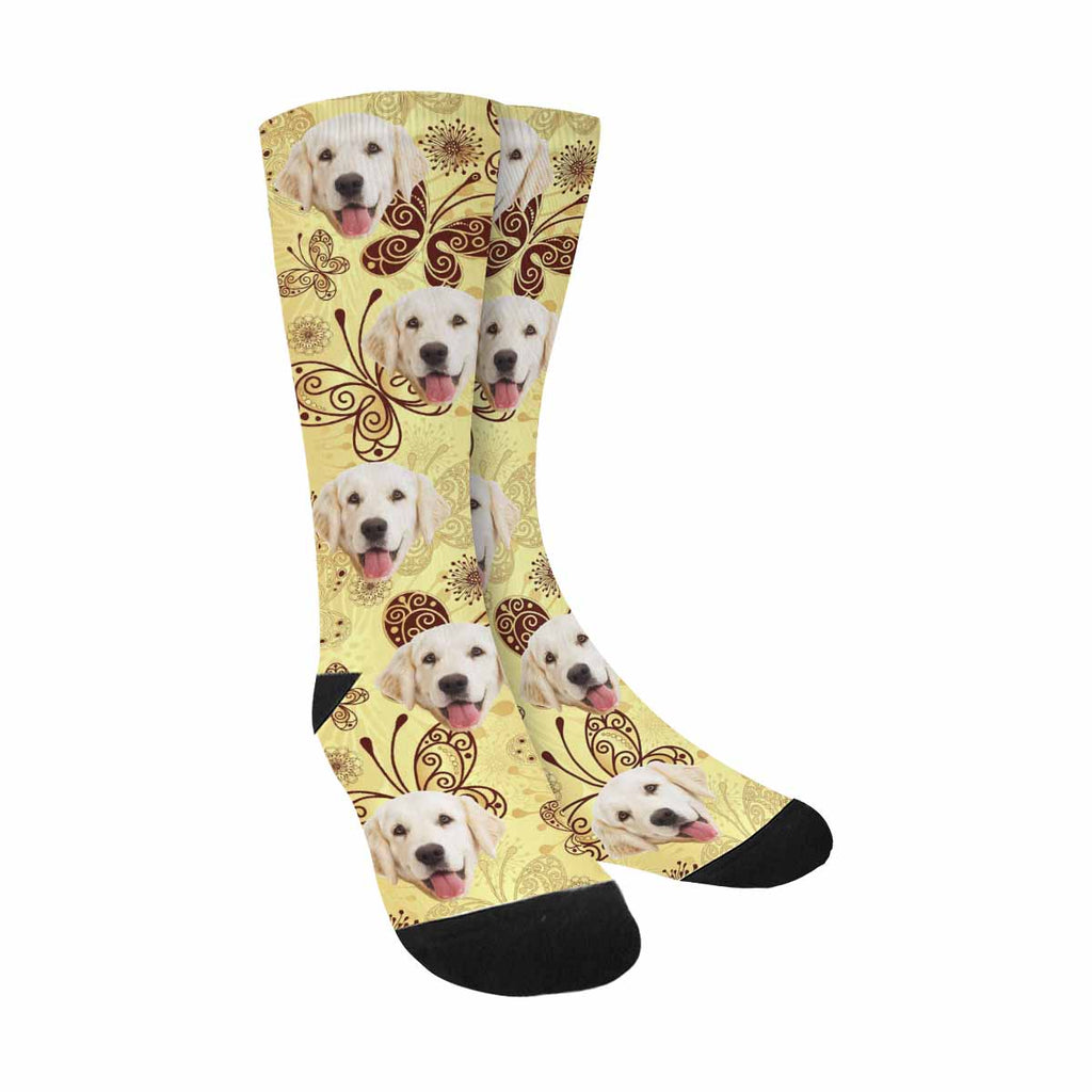 Custom Photo Lacy Butterflies Dog Socks, Gold and Brown