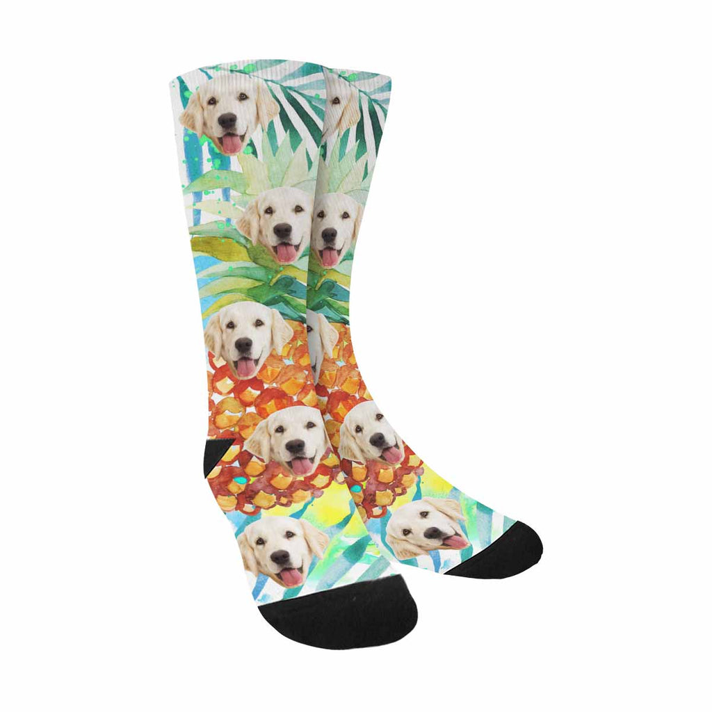 Custom Printed Picture Watercolor Pineapple Pet Socks
