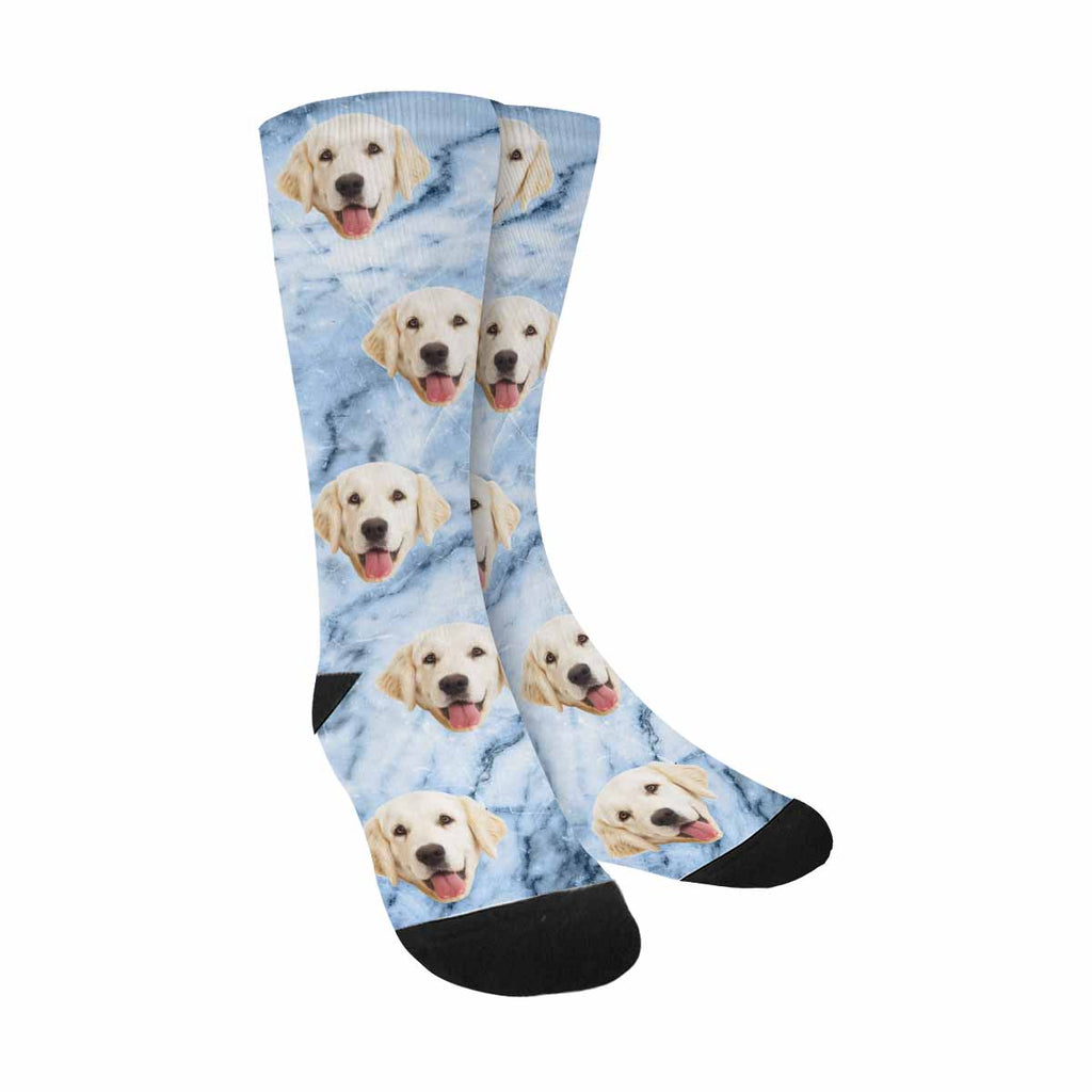 Personalized Picture Blue Marble Pup Socks