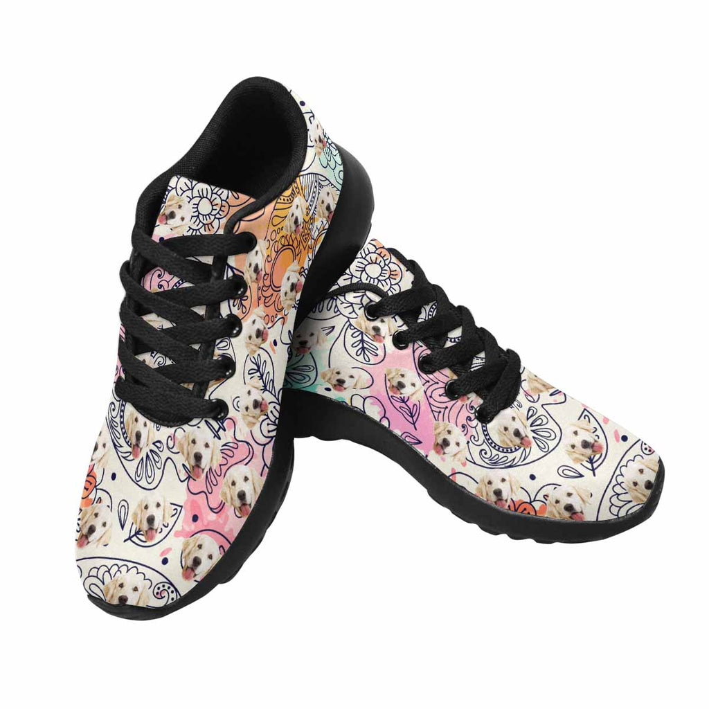 Personalized Picture Skull and Flowers Dog Women's Running Shoes
