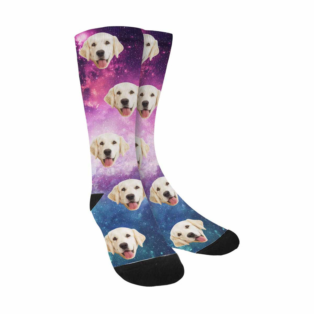 Custom Photo Nebula and Galaxy Pup Socks, Universe Filled with Stars