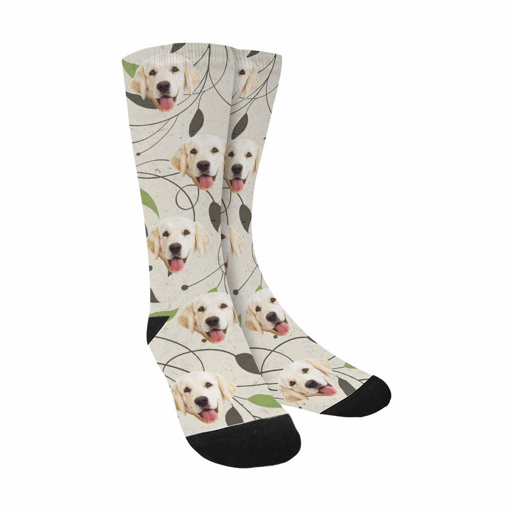 Custom Printed Picture Leaves Pup Socks