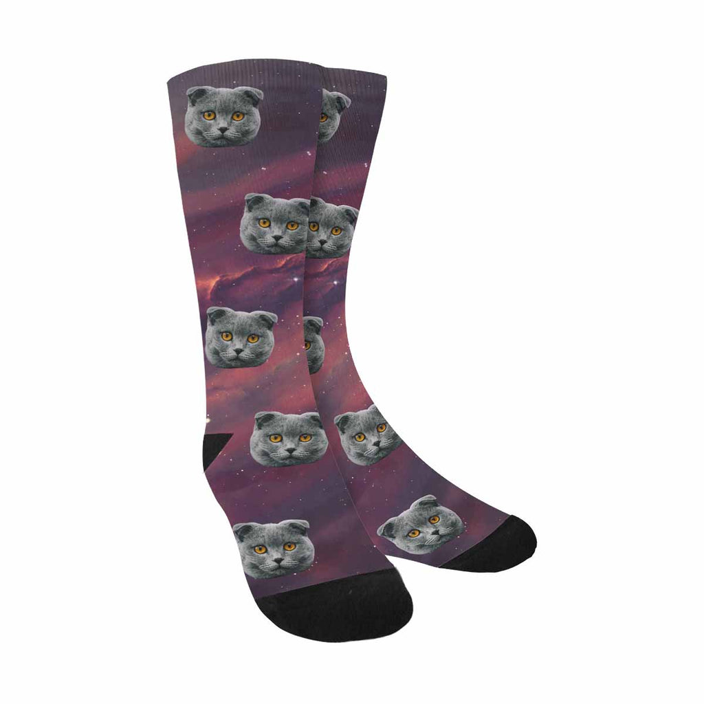 Custom Printed Photo Star Field Cat Face Socks Deep Space