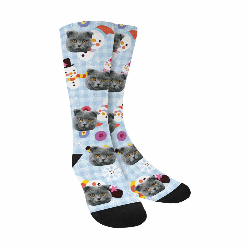 Custom Printed Christmas Snowman Cat Face Socks Checks