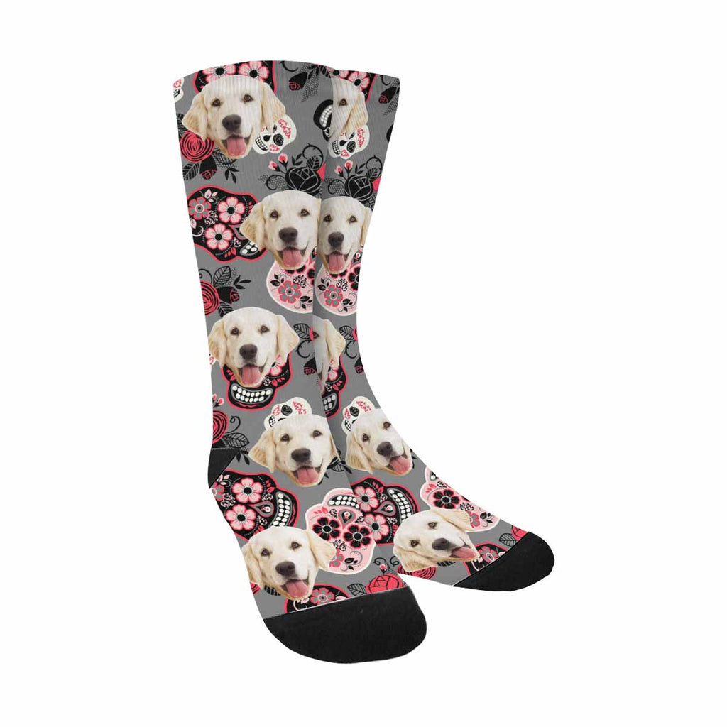 Custom Printed Photo Flower Skull Pet Socks, Red Rose