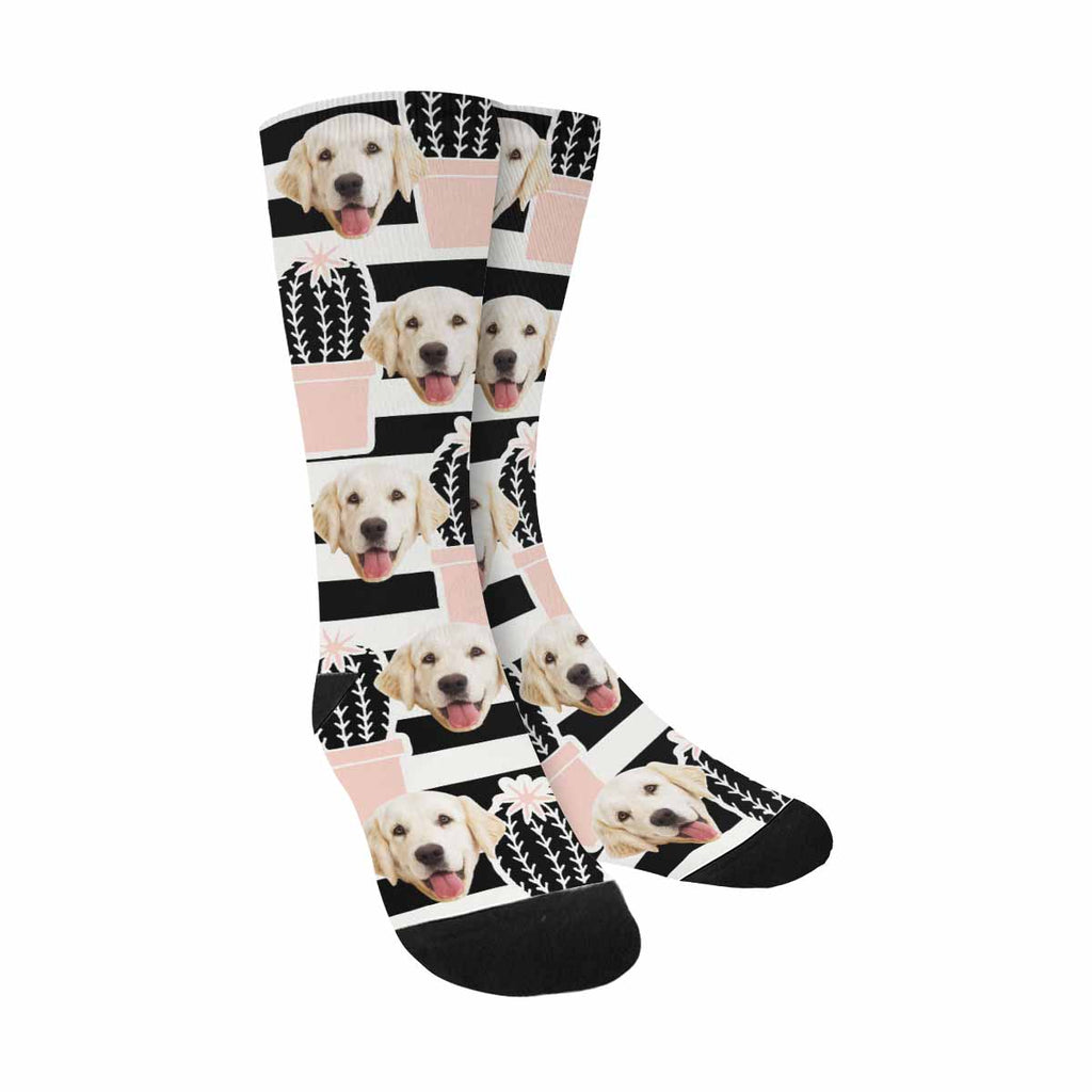 Custom Printed Photo Funny Cartoon Cactus Pet Socks, Plants in Black and Pink