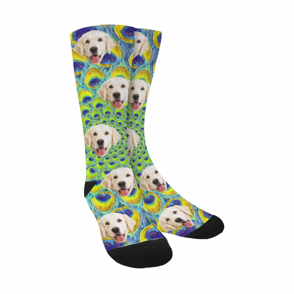 Custom Printed Photo Round Peacock Feather Dog Socks