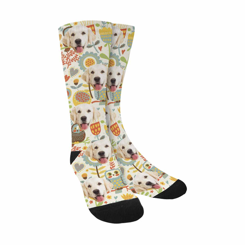 Personalized Picture Cute Owl Dog Socks, Colorful Floral and Bird
