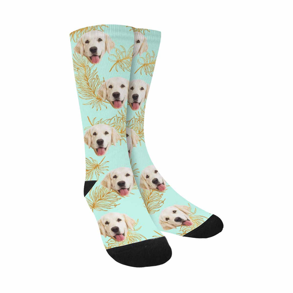 Custom Printed Photo Gold Feathers Pup Socks, Mint Background