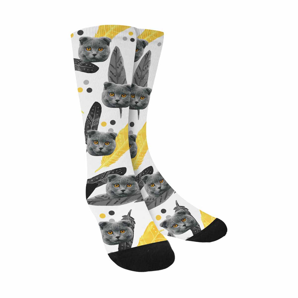 Custom Printed Feathers Cat Socks Black and Yellow
