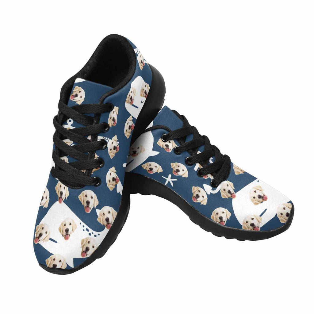 Custom Printed Whales Pet Women's Running Shoes Navy Blue Background