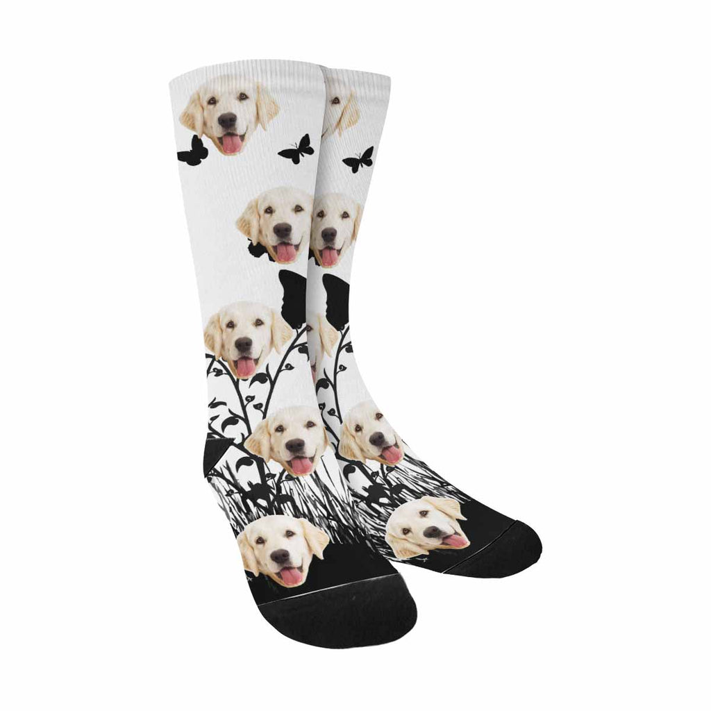 Personalized Picture Butterflies Dog Socks, Flowers and Grass
